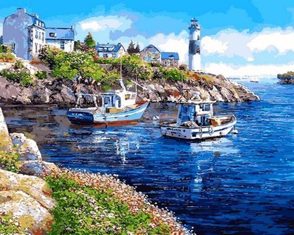 Картины по номерам на холсте 40×50 см. Морская бухта Художник Сун Сэм Парк