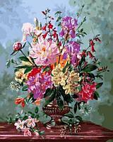 Картины по номерам 40×50 см. Натюрморт с цветами в вазе на мраморном столе Художник Альберт Уильямс