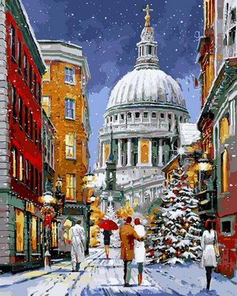 Картины по номерам 40×50 см. Кафедральный собор Святого Павла в снегу Художник Ричард Макнейл