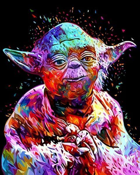 Раскраски по номерам 40×50 см. Йода Звёздные войны купить ...