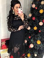 Вечернее платье из роскошного гипюра и фатиновой юбки. Размер: М-42. Цвет: черный (0377)