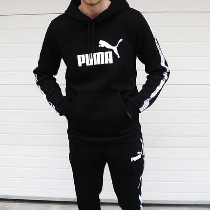 f732ee89b65e Мужской спортивный костюм Puma черный с белым топ реплика: продажа ...