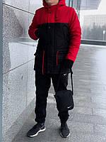 Парка зимняя + Штаны теплые  + 2 ПОДАРКА! Спортивный зимний комплект! черный + красный