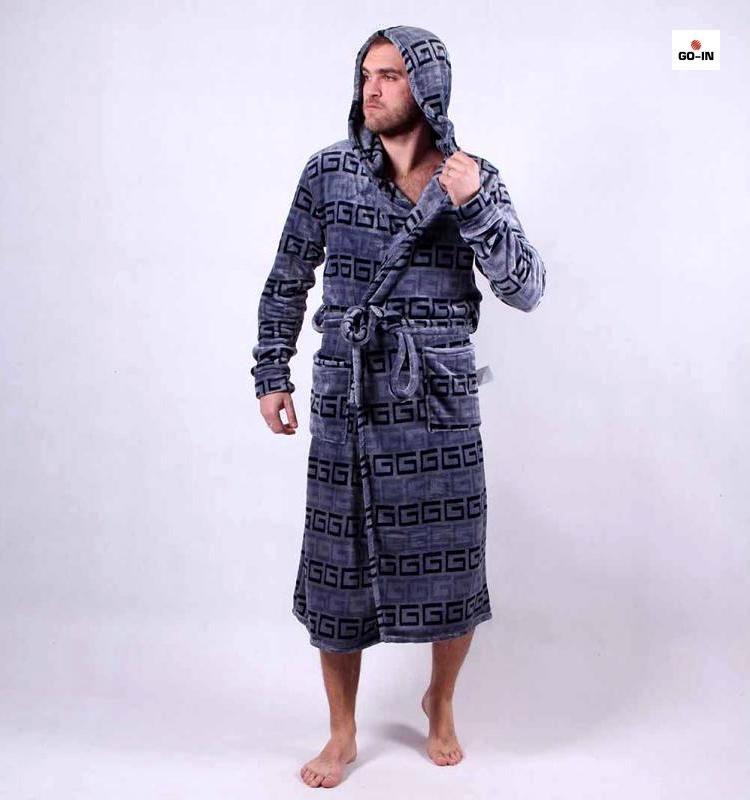 Мужской халат махровый теплый, длинный с капюшоном Версачи 56-58 р.