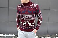 Мужской стильный вязанный свитер с оленями (ЗИМА)