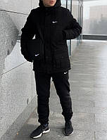 Парка зимняя + Штаны теплые  + 2 ПОДАРКА! Спортивный зимний комплект! черный