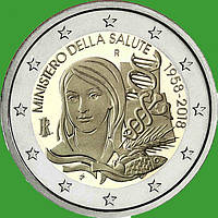Италия 2 евро 2018 г. 60-летие Министерства здравоохранения Италии . UNC