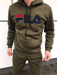 Мужской спортивный костюм Fila цвета хаки топ реплика
