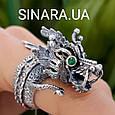 Серебряное кольцо Дракон - Мужское кольцо с Китайским Драконом, фото 9