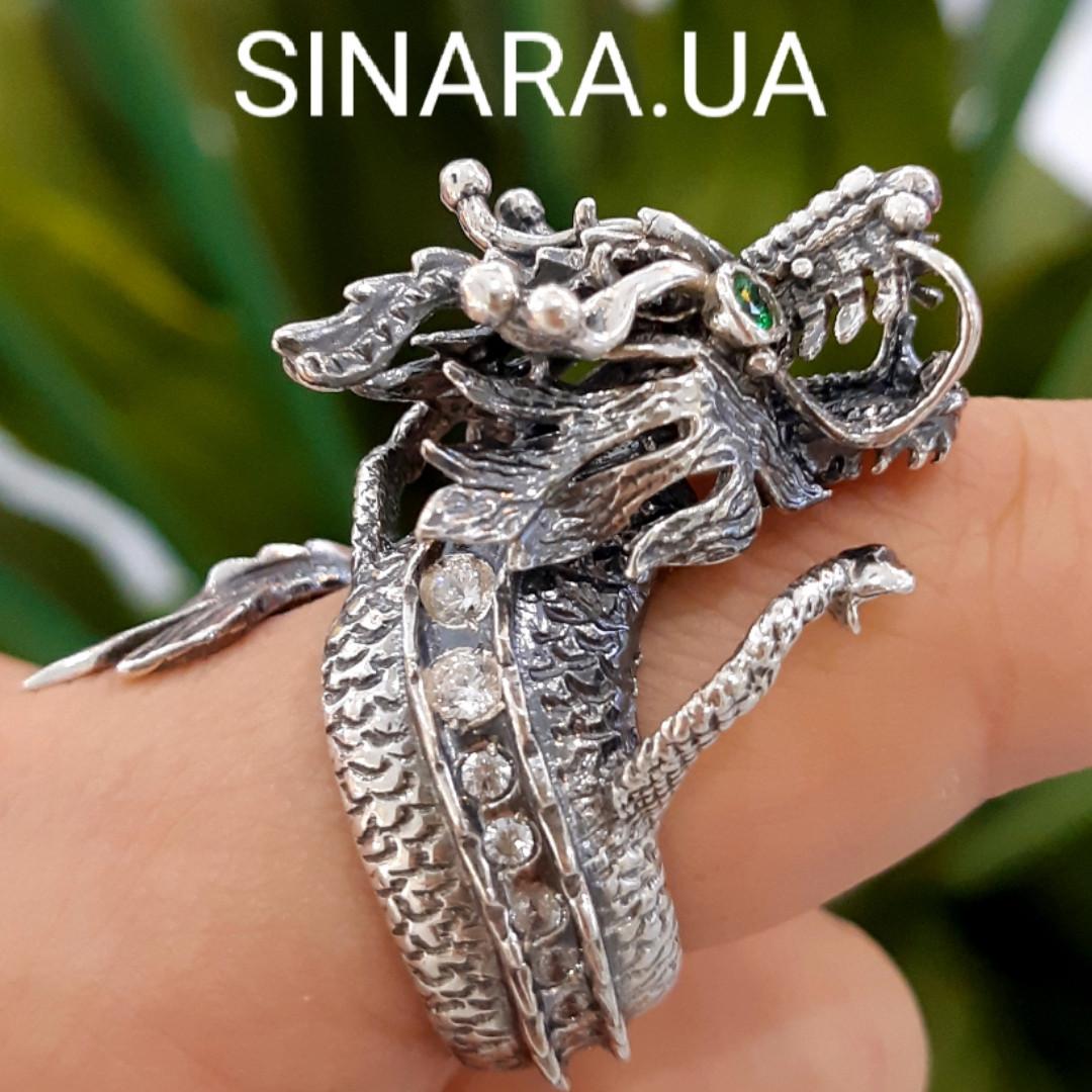 Серебряное кольцо Дракон - Мужское кольцо с Китайским Драконом