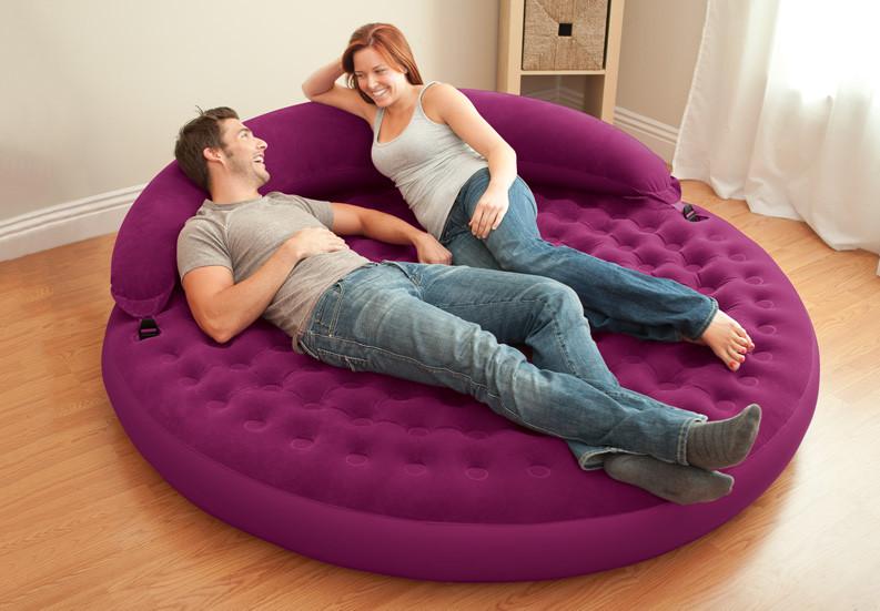 Надувная круглая кровать-диван со съемным изголовьем Intex 68881