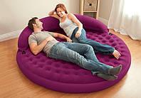 Надувная круглая кровать-диван со съемным изголовьем Intex 68881, фото 1