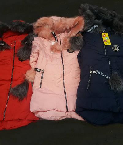 Модна дитяча зимова тепла куртка з кишенями і капюшоном, фото 2