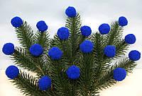 Шарики - помпоны синие D - 3 см, 10 шт - 7 грн