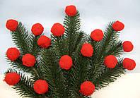 Шарики - помпоны красные D - 3 см, 10 шт - 7 грн