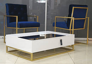 Журнальный стол Golden style на металлической опоре, фото 3