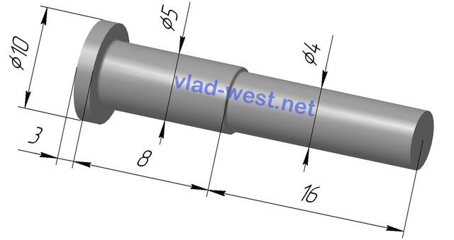 Размеры, чертеж заклепки ступенчатая стальной с плоской головкой Ø5х8/Ø4х16 оцинкованая