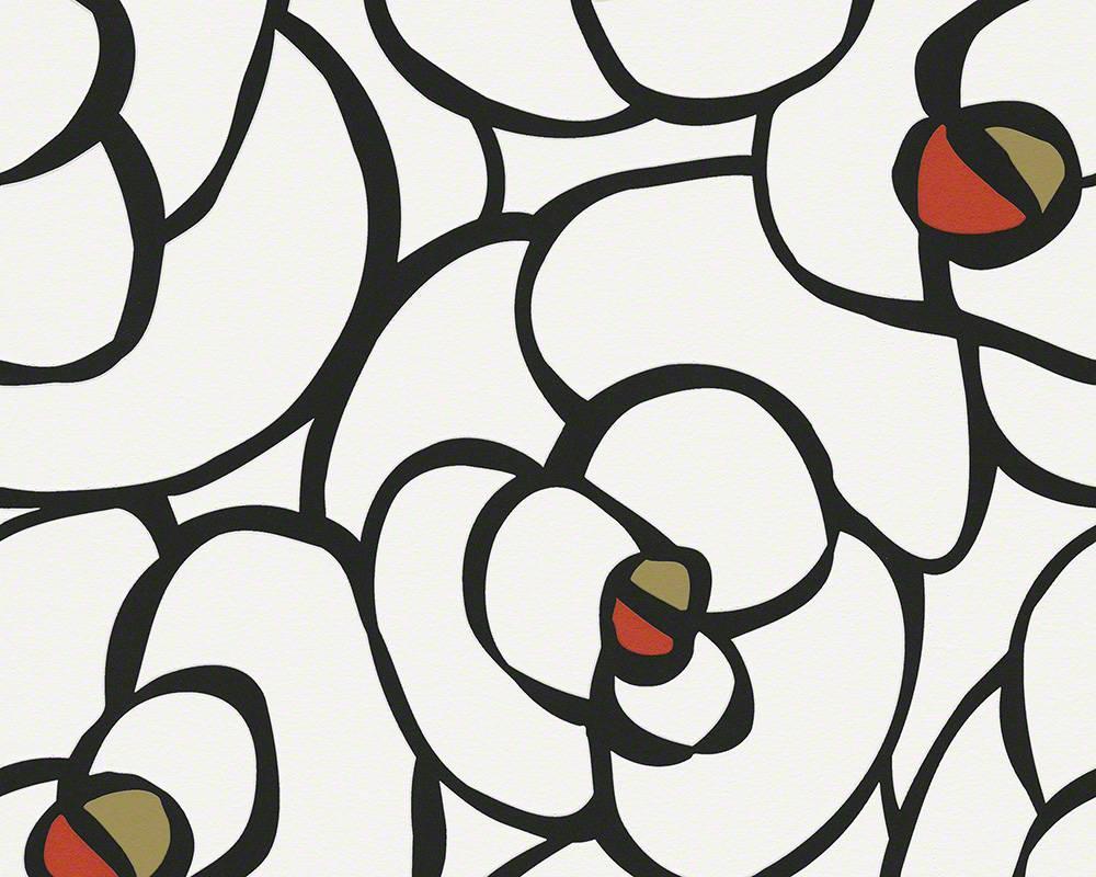 Німецькі шпалери з візерунком - великі чорні квіти і бутони троянд на білому тлі 940273