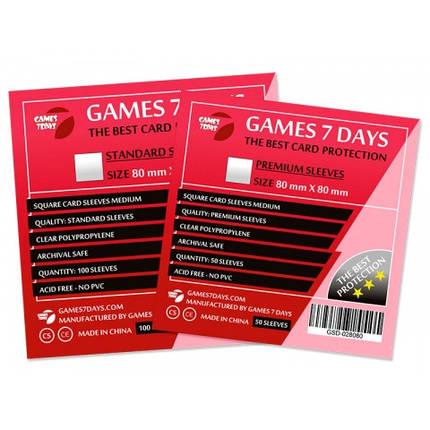 Протекторы для карт Games 7 Days 100 шт. (80x80 мм) Standard Quality, фото 2