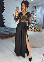 Черное элегатное платье-макси с атласной юбкой VL4041-1 M. Размер 44