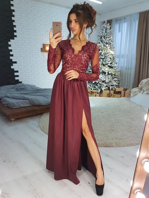 308e57441f1 Бордовое элегатное платье-макси с атласной юбкой VL4042 S. Размер 42 -  Чулочно-