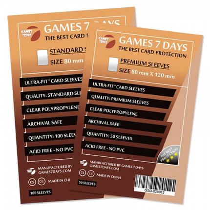 Протекторы для карт Games 7 Days 100 шт. (80x120 мм) Standard Quality, фото 2