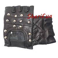 Перчатки  кожаные без пальцев байкерские с заклепками Black MIL-TEC 12518002