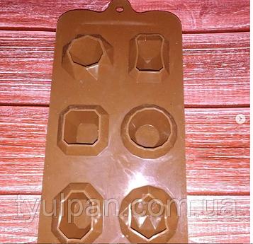Планшет молд кондитерский силиконовый драгоценные камни кристаллы для карамели мастики шоколада изомальта