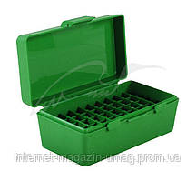 Кейс MTM для пистолетных патронов 7,62х25; 5,7х28; 357 Mag на 50 патронов, зеленый