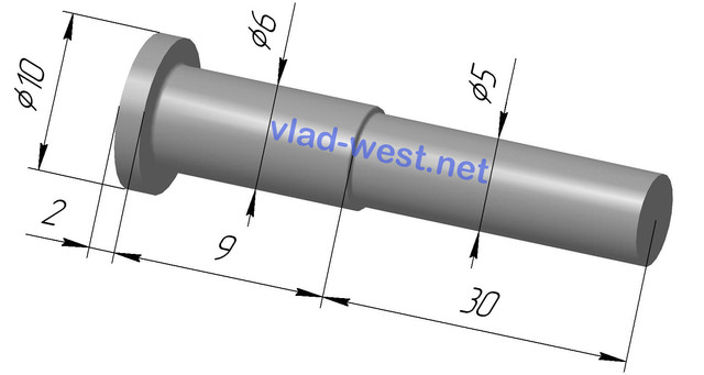 Размеры, чертеж заклепки ступенчатая стальной с плоской головкой Ø6х9/Ø5х30 оцинкованая
