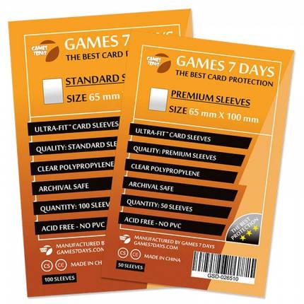Протекторы для карт Games 7 Days 100 шт. (65x100 мм) Standard Quality, фото 2