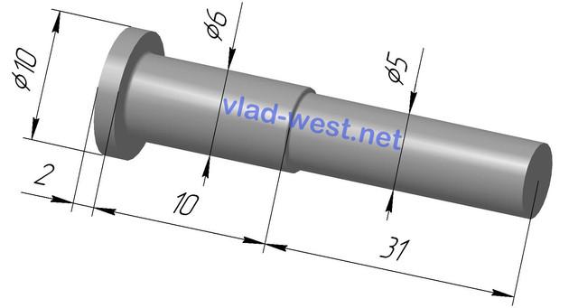 Размеры, чертеж заклепки ступенчатая стальной с плоской головкой Ø6х10/Ø5х31 оцинкованая