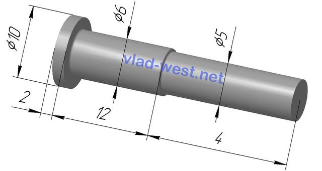 Размеры, чертеж заклепки ступенчатая стальной с плоской головкой Ø6х12/Ø5х4 оцинкованая
