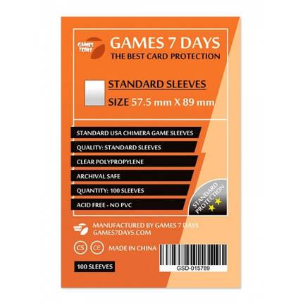 Протекторы для карт Games 7 Days 100 шт. (57,5x89 мм) Standard Quality, фото 2