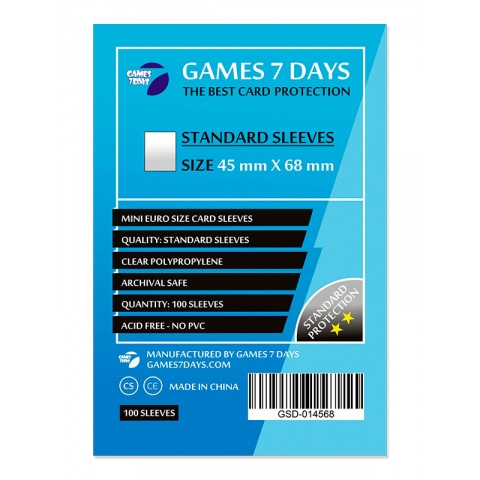 Протекторы для карт Games 7 Days 100 шт. (45x68 мм) Standard Quality