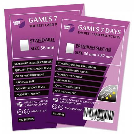 Протекторы для карт Games 7 Days 100 шт. (56x87 мм) Standard Quality, фото 2
