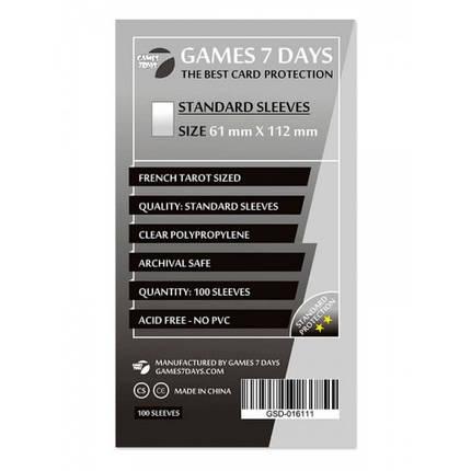 Протекторы для карт Games 7 Days 100 шт. (61x112 мм) Standard Quality, фото 2