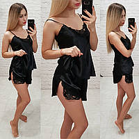 Женский комплект для сна топ майка с шортами черный, фото 1