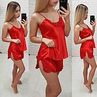 Женский комплект для сна топ майка с шортами красный