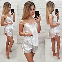 Женский комплект для сна топ майка с шортами белый