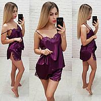 Женский комплект для сна топ майка с шортами фиолет