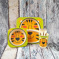 Набор детской посуды из бамбука - Тигр