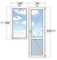 Балконный блок: дверь 700х2100, окно 1200х1400, Koemmerling 76 AD.