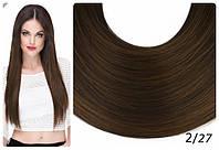Волосы ТЕРМО на заколках 6 прядей длина 55см №2/27 темно-русый микс
