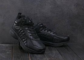 Мужские кроссовки кожаные зимние черные Baas A 2109 -1