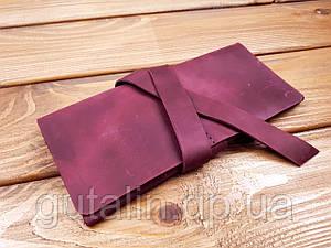 Женский кошелек из натуральной кожи ручной работы с лямкой цвет фиолетовый