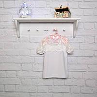 Блуза с коротким рукавом Юлия белая фуликра + гипюр