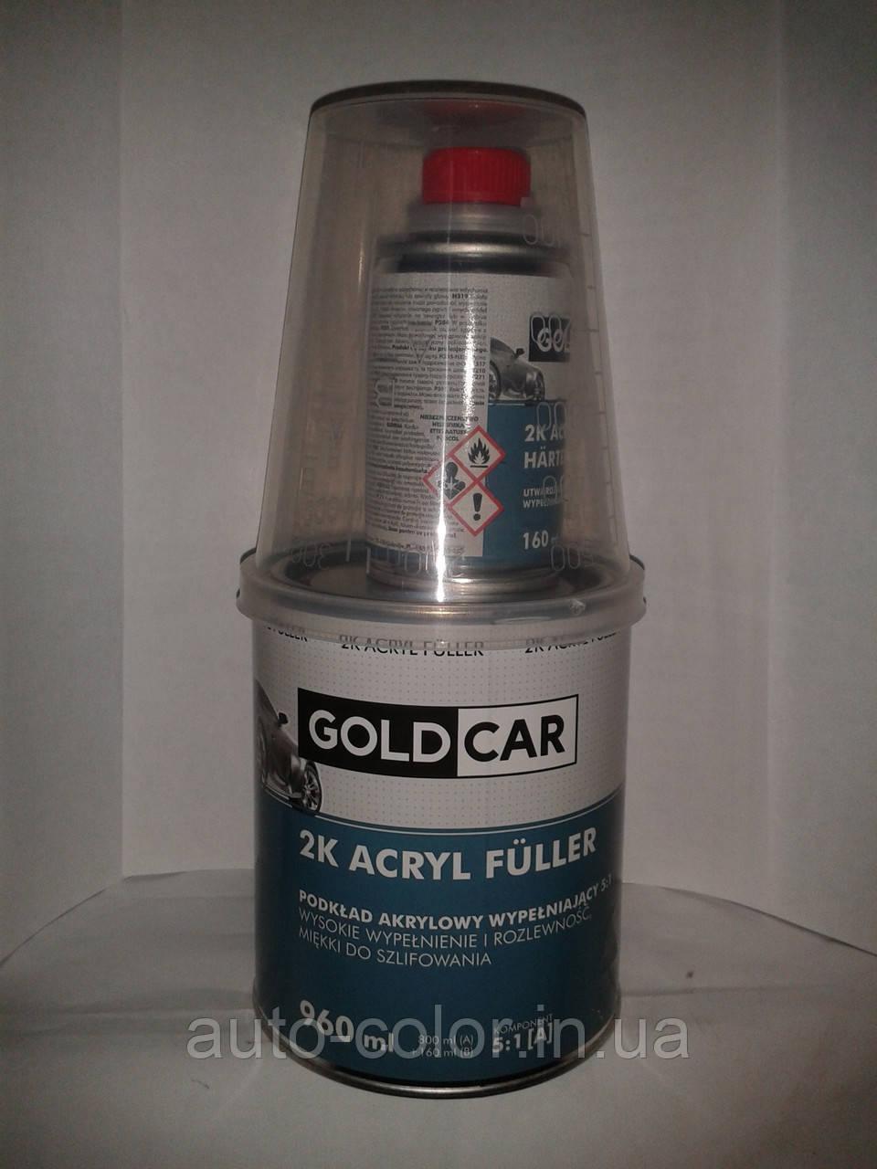 Грунт акриловий Gold Car 5+1 білий 0,8 л+0,16 л затверджувач