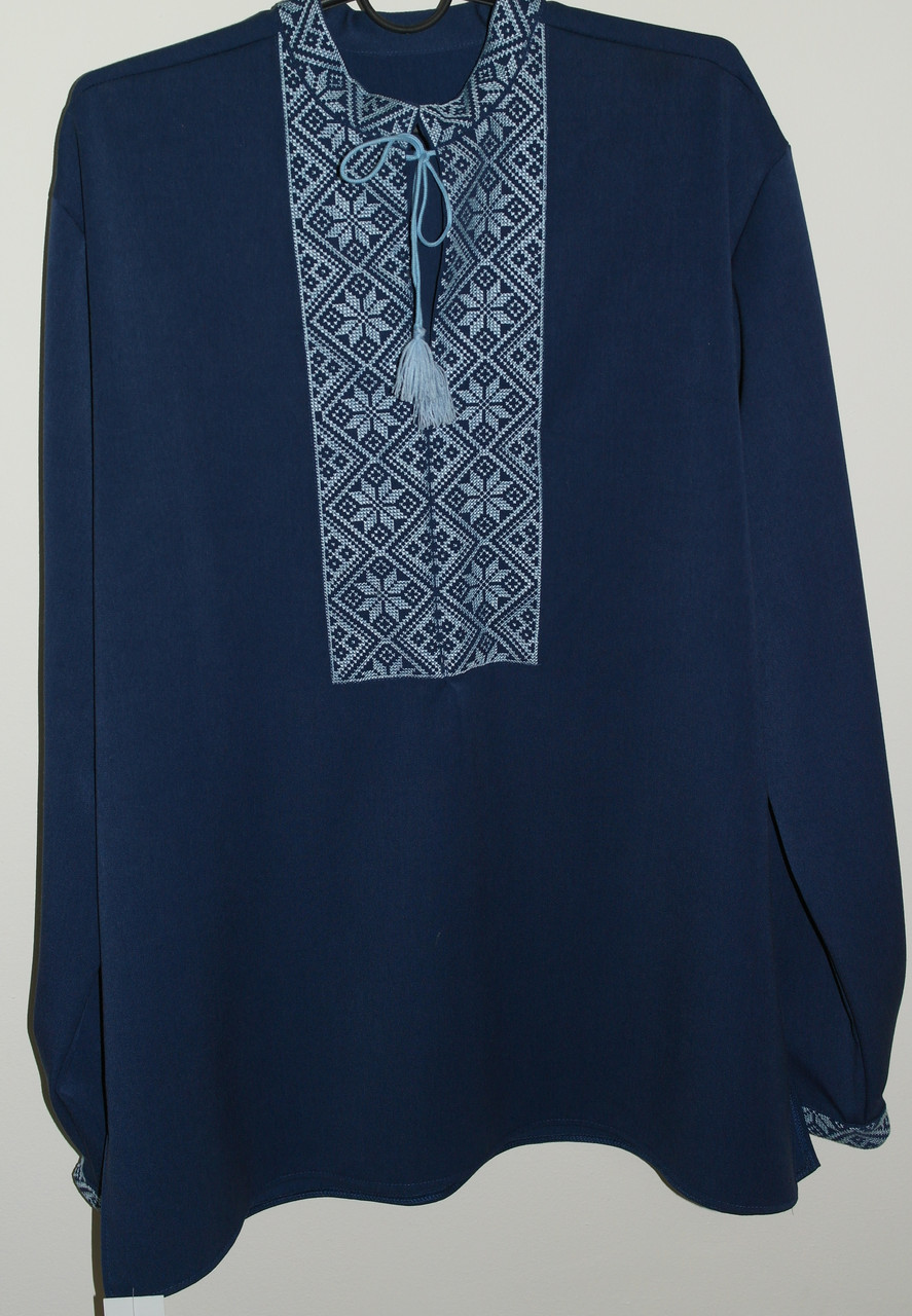 Вышитая сорочка синего цвета SAM 0686