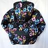 Детская демисезонная куртка для девочек  3-7 лет Черная в цветах , фото 3